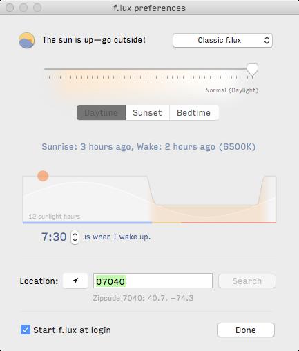 f.lux settings screenshot