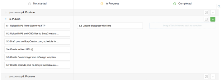 Phases/swim lanes in Freedcamp's Kanban view